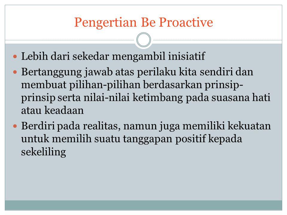 Proaktif minimalis : perubahan relatif kecil, fokus secara tepat pada perilaku dan sikap.