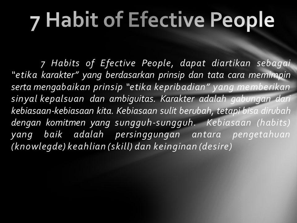 7 Habits of Efective People, dapat diartikan sebagai etika karakter yang berdasarkan prinsip dan tata cara memimpin serta mengabaikan prinsip etika kepribadian yang memberikan sinyal kepalsuan dan ambiguitas.