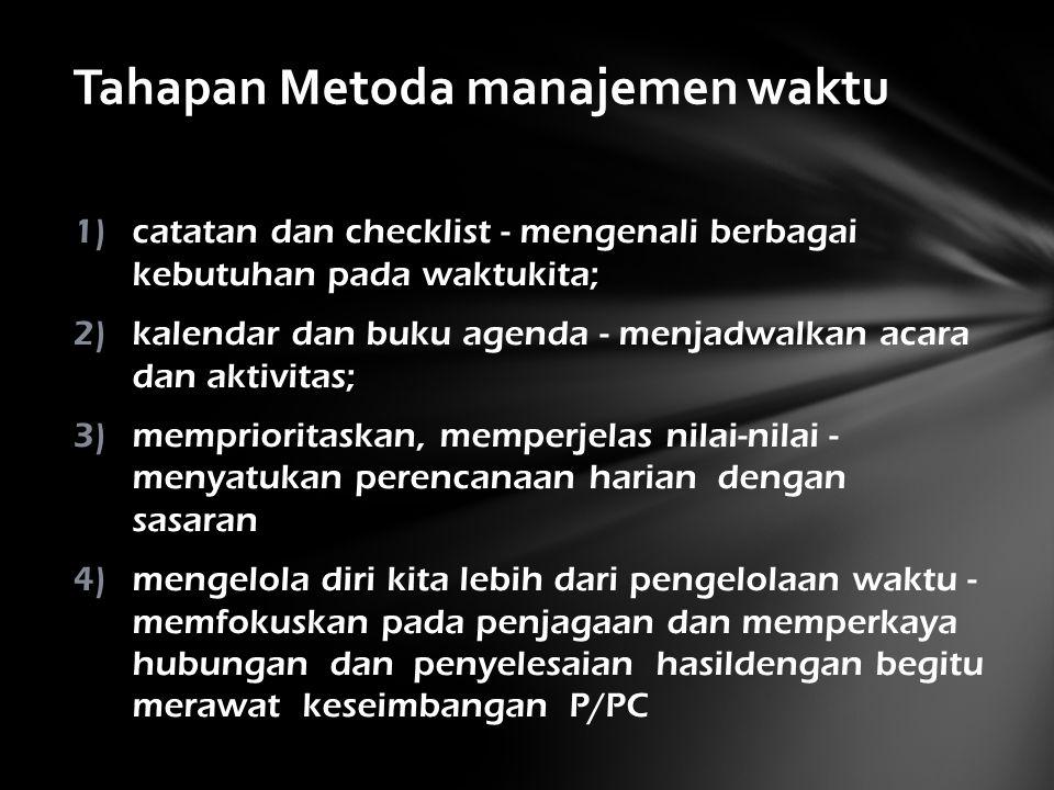 1)catatan dan checklist - mengenali berbagai kebutuhan pada waktukita; 2)kalendar dan buku agenda - menjadwalkan acara dan aktivitas; 3)memprioritaskan, memperjelas nilai-nilai - menyatukan perencanaan harian dengan sasaran 4)mengelola diri kita lebih dari pengelolaan waktu - memfokuskan pada penjagaan dan memperkaya hubungan dan penyelesaian hasildengan begitu merawat keseimbangan P/PC Tahapan Metoda manajemen waktu