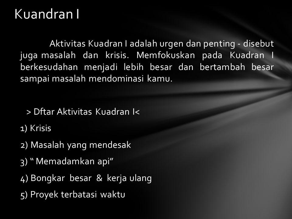Aktivitas Kuadran I adalah urgen dan penting - disebut juga masalah dan krisis.