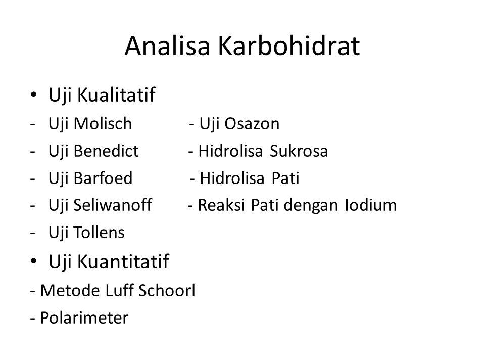 Analisa Karbohidrat Uji Kualitatif -Uji Molisch - Uji Osazon -Uji Benedict - Hidrolisa Sukrosa -Uji Barfoed - Hidrolisa Pati -Uji Seliwanoff - Reaksi