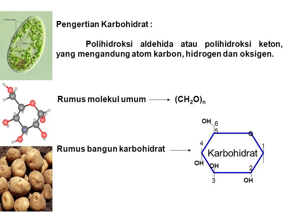 Pengertian Karbohidrat : Polihidroksi aldehida atau polihidroksi keton, yang mengandung atom karbon, hidrogen dan oksigen. Rumus molekul umum (CH 2 O)