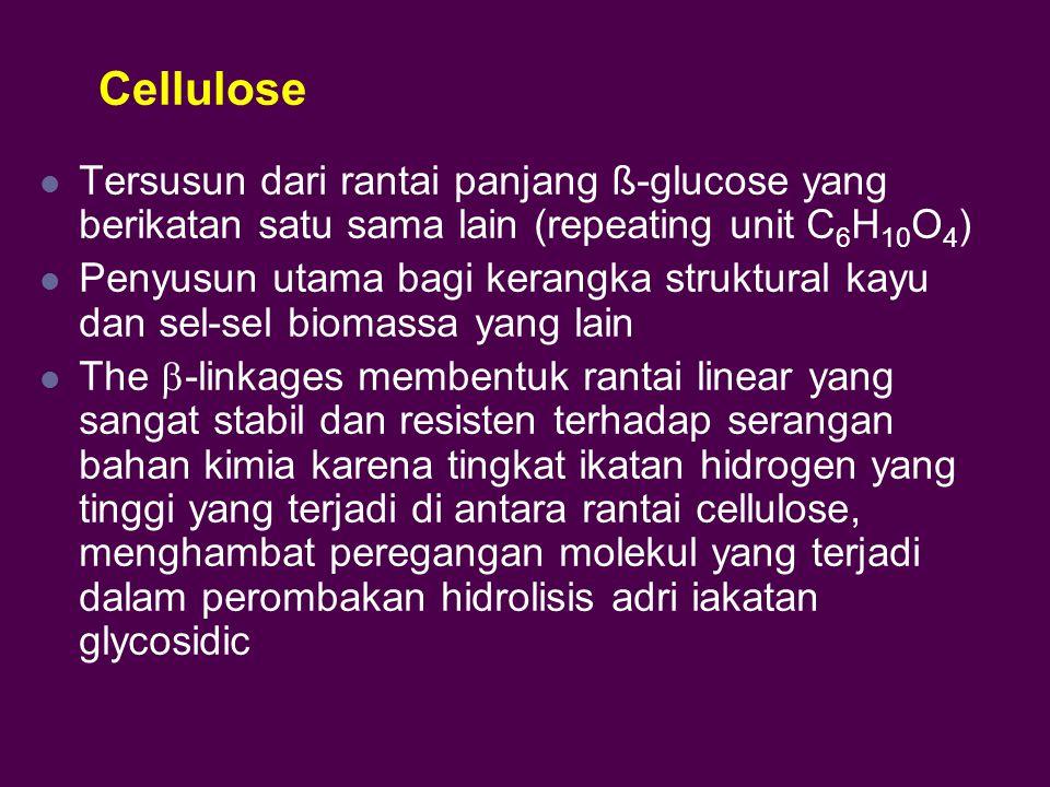 Cellulose Tersusun dari rantai panjang ß-glucose yang berikatan satu sama lain (repeating unit C 6 H 10 O 4 ) Penyusun utama bagi kerangka struktural kayu dan sel-sel biomassa yang lain The  -linkages membentuk rantai linear yang sangat stabil dan resisten terhadap serangan bahan kimia karena tingkat ikatan hidrogen yang tinggi yang terjadi di antara rantai cellulose, menghambat peregangan molekul yang terjadi dalam perombakan hidrolisis adri iakatan glycosidic
