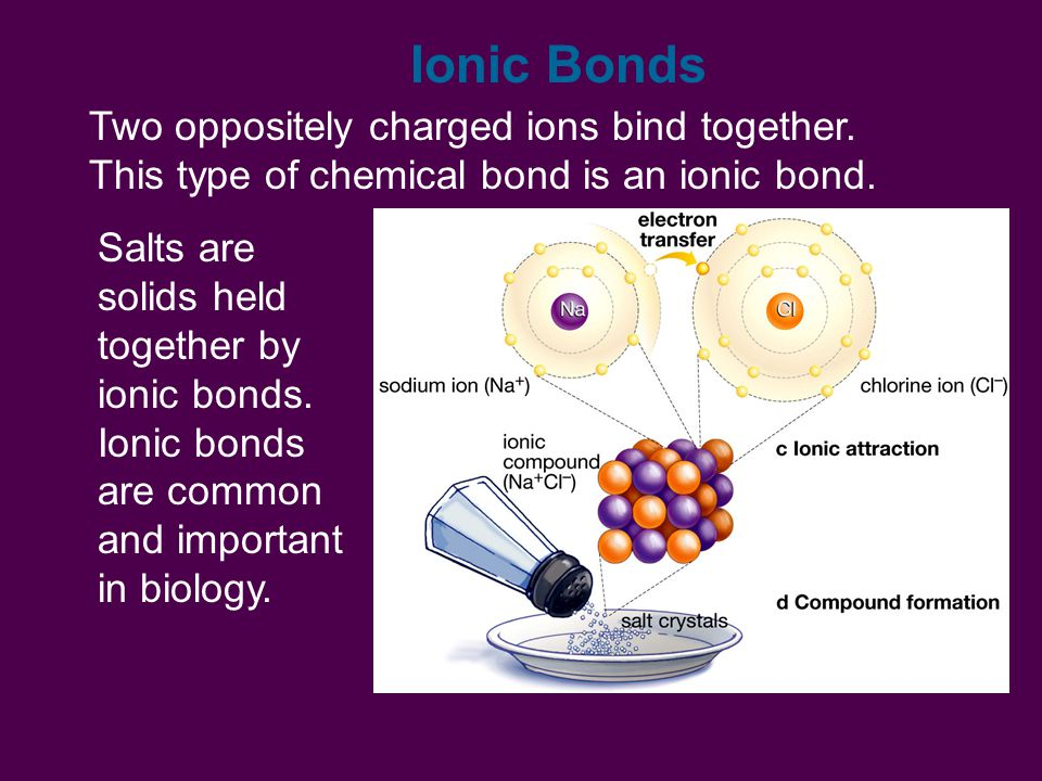 Ionic Bonds Two oppositely charged ions bind together.