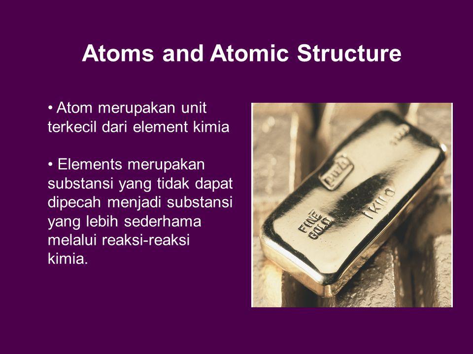 Atoms and Atomic Structure Atom merupakan unit terkecil dari element kimia Elements merupakan substansi yang tidak dapat dipecah menjadi substansi yang lebih sederhama melalui reaksi-reaksi kimia.