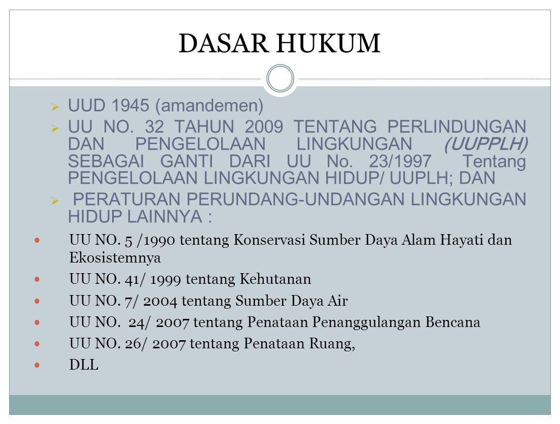  UUD 1945 (amandemen)  UU NO. 32 TAHUN 2009 TENTANG PERLINDUNGAN DAN PENGELOLAAN LINGKUNGAN (UUPPLH) SEBAGAI GANTI DARI UU No. 23/1997 Tentang PENGE