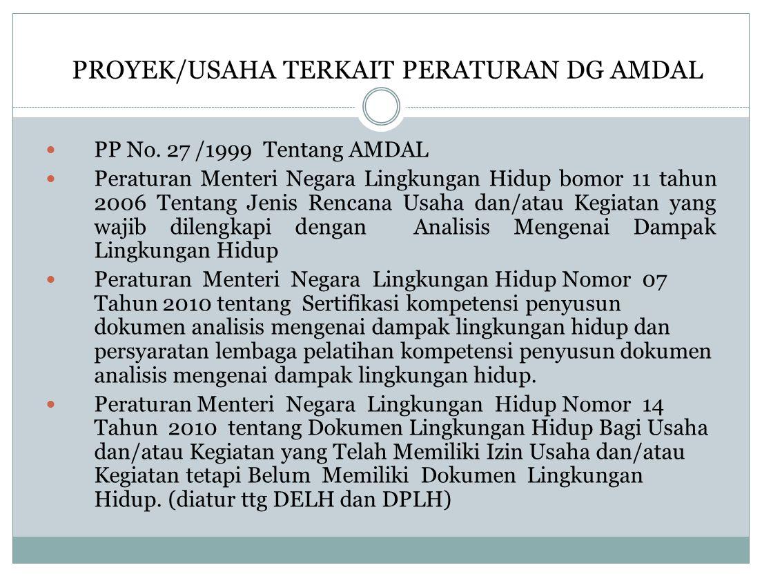 PROYEK/USAHA TERKAIT PERATURAN DG AMDAL PP No. 27 /1999 Tentang AMDAL Peraturan Menteri Negara Lingkungan Hidup bomor 11 tahun 2006 Tentang Jenis Renc