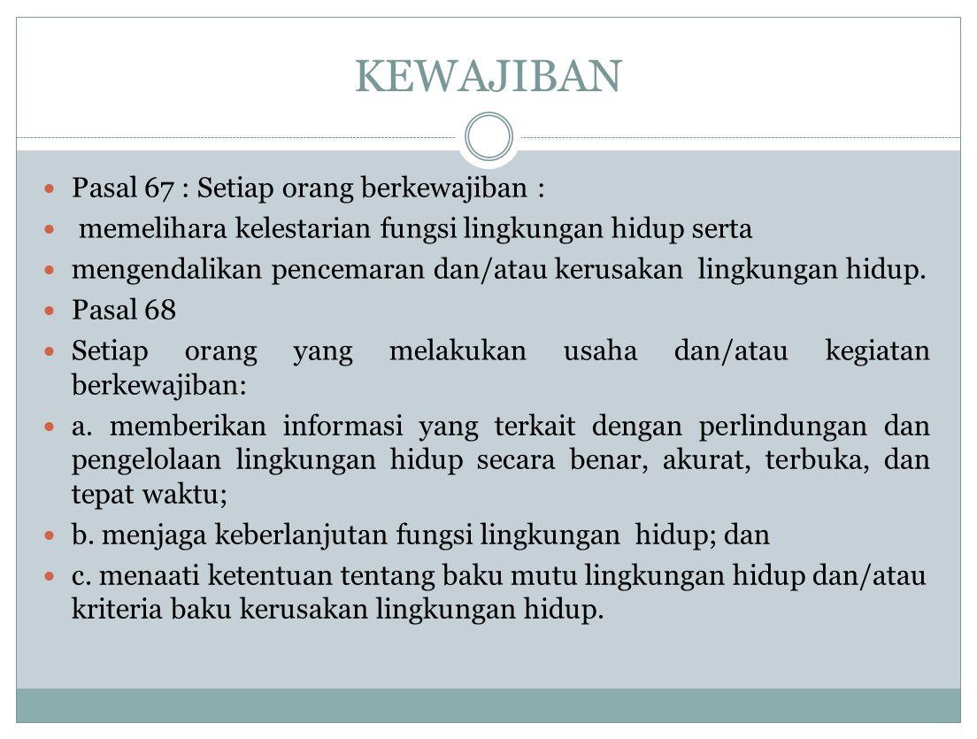 PERBUATAN YG DILARANG KARENA MENIMBULKAN MASALAH LH DLM UUPPLH Pasal 69 Setiap orang dilarang: (1) a.