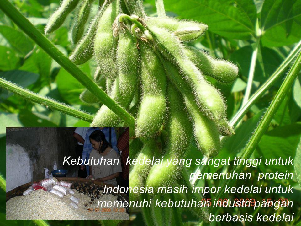 Kebutuhan kedelai yang sangat tinggi untuk pemenuhan protein Indonesia masih impor kedelai untuk memenuhi kebutuhan industri pangan berbasis kedelai