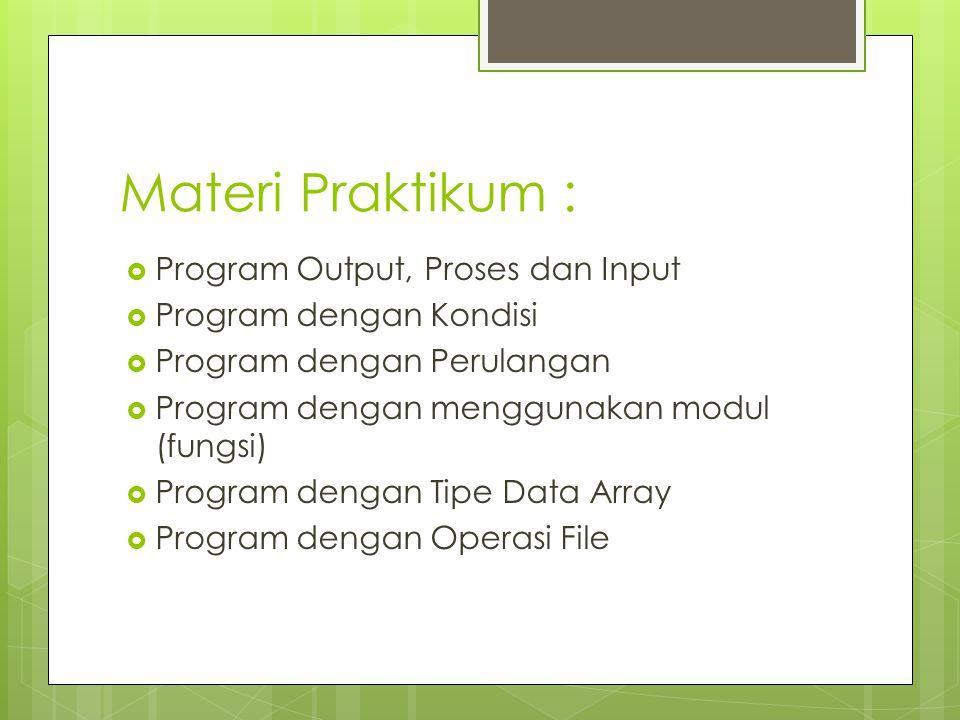 Materi Praktikum :  Program Output, Proses dan Input  Program dengan Kondisi  Program dengan Perulangan  Program dengan menggunakan modul (fungsi)