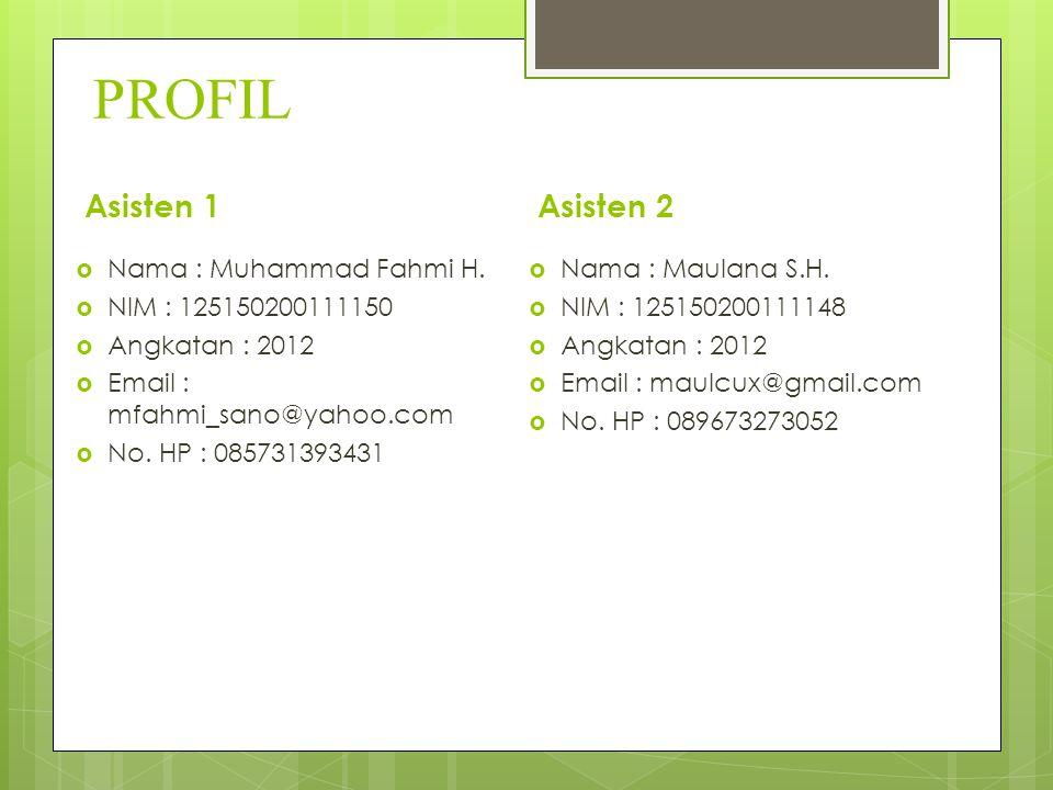 PROFIL Asisten 2  Nama : Muhammad Fahmi H.  NIM : 125150200111150  Angkatan : 2012  Email : mfahmi_sano@yahoo.com  No. HP : 085731393431  Nama :