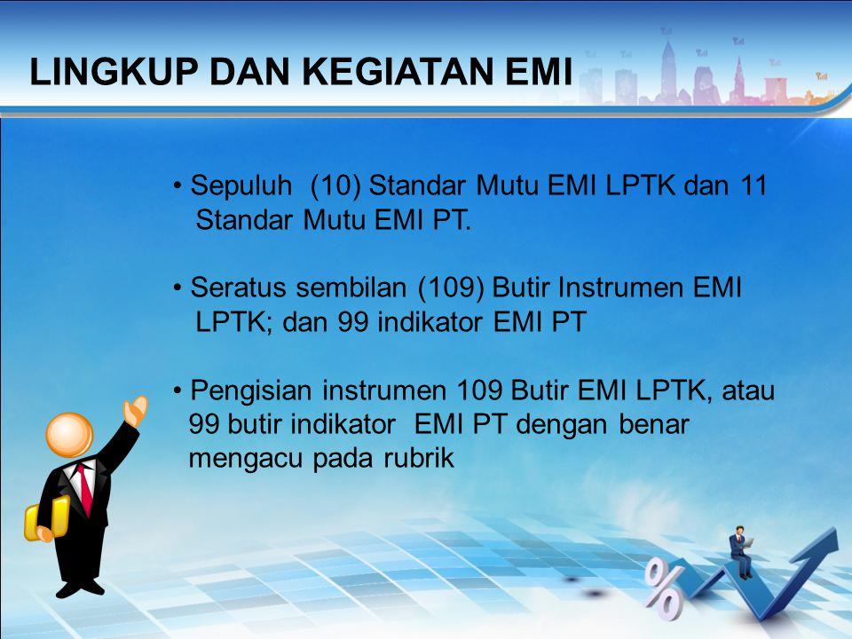 Sepuluh (10) Standar Mutu EMI LPTK dan 11 Standar Mutu EMI PT.