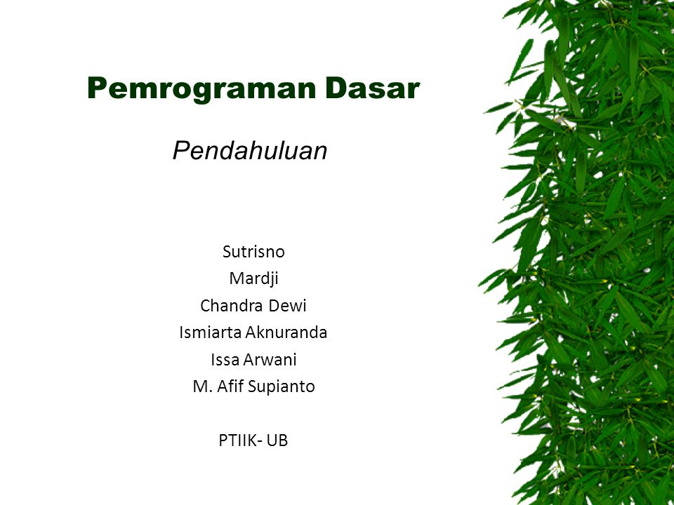 Pemrograman Dasar Pendahuluan Sutrisno Mardji Chandra Dewi Ismiarta Aknuranda Issa Arwani M. Afif Supianto PTIIK- UB