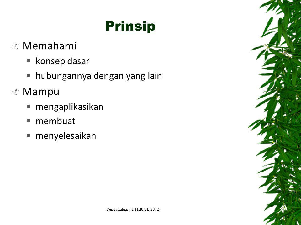 Prinsip  Memahami  konsep dasar  hubungannya dengan yang lain  Mampu  mengaplikasikan  membuat  menyelesaikan Pendahuluan - PTIIK UB 2012