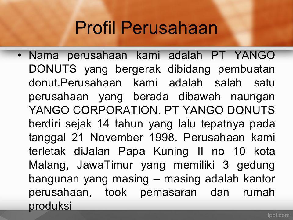 Profil Perusahaan Nama perusahaan kami adalah PT YANGO DONUTS yang bergerak dibidang pembuatan donut.Perusahaan kami adalah salah satu perusahaan yang