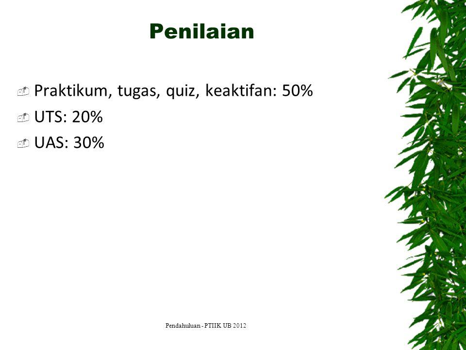 Penilaian  Praktikum, tugas, quiz, keaktifan: 50%  UTS: 20%  UAS: 30% Pendahuluan - PTIIK UB 2012