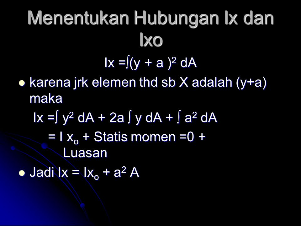 Menentukan Hubungan Ix dan Ixo Ix =∫(y + a ) 2 dA karena jrk elemen thd sb X adalah (y+a) maka karena jrk elemen thd sb X adalah (y+a) maka Ix =∫ y 2 dA + 2a ∫ y dA + ∫ a 2 dA Ix =∫ y 2 dA + 2a ∫ y dA + ∫ a 2 dA = I x o + Statis momen =0 + Luasan = I x o + Statis momen =0 + Luasan Jadi Ix = Ix o + a 2 A Jadi Ix = Ix o + a 2 A