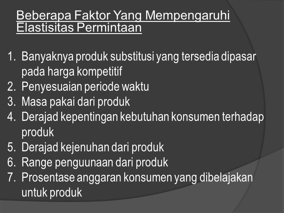 Beberapa Faktor Yang Mempengaruhi Elastisitas Permintaan 1.Banyaknya produk substitusi yang tersedia dipasar pada harga kompetitif 2.Penyesuaian perio
