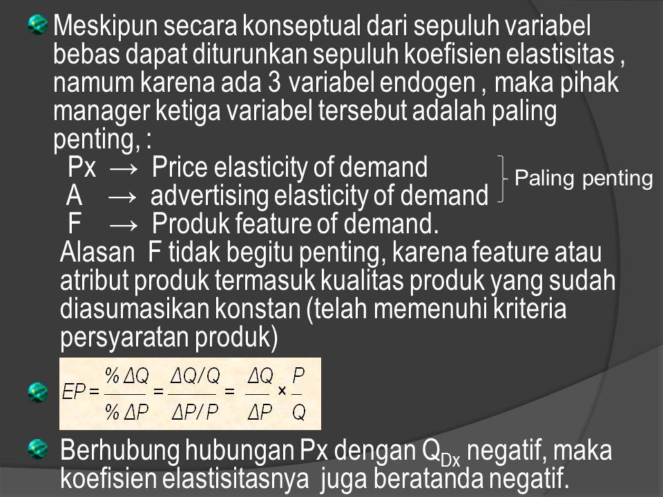 Misalnya : penurunan harga 10% terjadi kenaikan permintaan 30%, penurunan harga 10% terjadi kenaikan permintaan 5 %, Ep ∞ elastis sempurna Ep > │- 1 │ elastis Ep = │- 1 │ unitary Ep < │- 1 │ inelastis Ep = 0 inelastis sempurna Apabila elastisitas diketahui = – 2,5 dan harga turun 8% B erapa besarnya Q DX Jawab : Ep = % ∆ Q / % ∆ P – 2,5 = %Q Dx / 8 %Q Dx = – 2,5 x 8 = 20