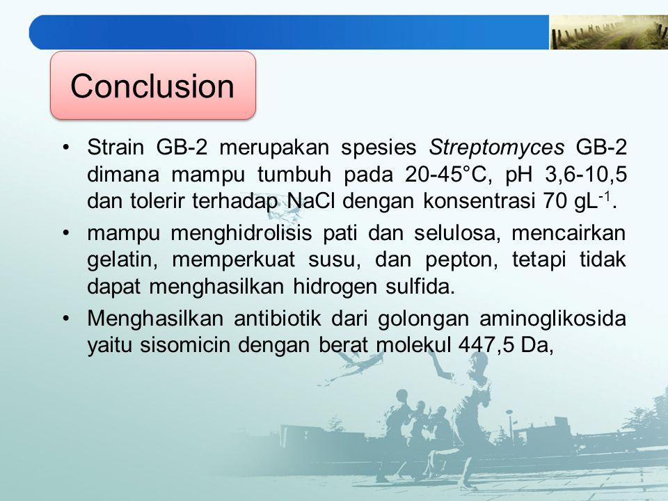 Strain GB-2 merupakan spesies Streptomyces GB-2 dimana mampu tumbuh pada 20-45°C, pH 3,6-10,5 dan tolerir terhadap NaCl dengan konsentrasi 70 gL -1.