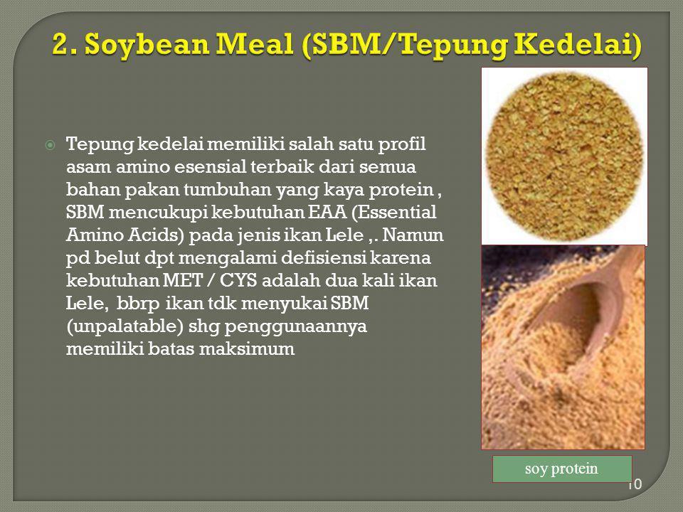  Tepung kedelai memiliki salah satu profil asam amino esensial terbaik dari semua bahan pakan tumbuhan yang kaya protein, SBM mencukupi kebutuhan EAA