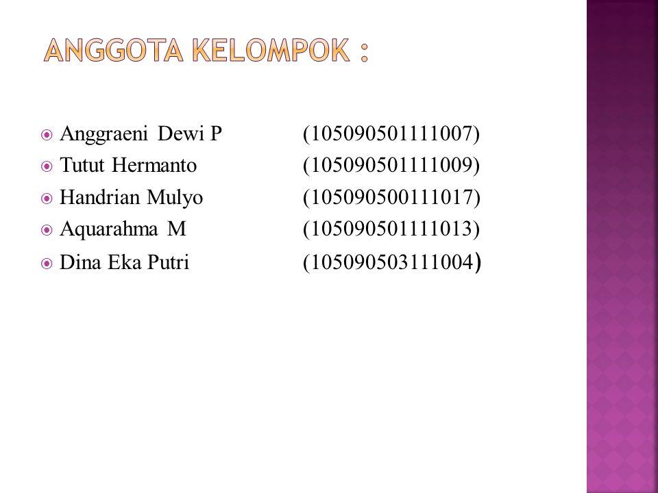  Anggraeni Dewi P (105090501111007)  Tutut Hermanto(105090501111009)  Handrian Mulyo(105090500111017)  Aquarahma M(105090501111013)  Dina Eka Putri(105090503111004 )