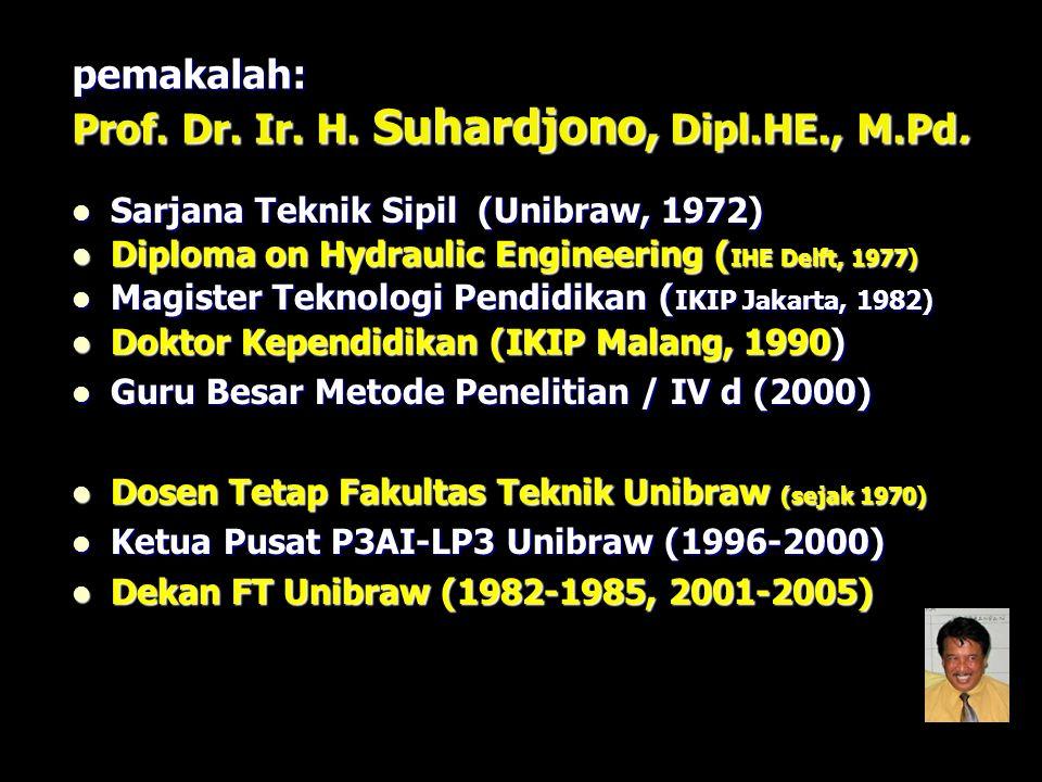 pemakalah: Prof. Dr. Ir. H. Suhardjono, Dipl.HE., M.Pd. Sarjana Teknik Sipil (Unibraw, 1972) Sarjana Teknik Sipil (Unibraw, 1972) Diploma on Hydraulic