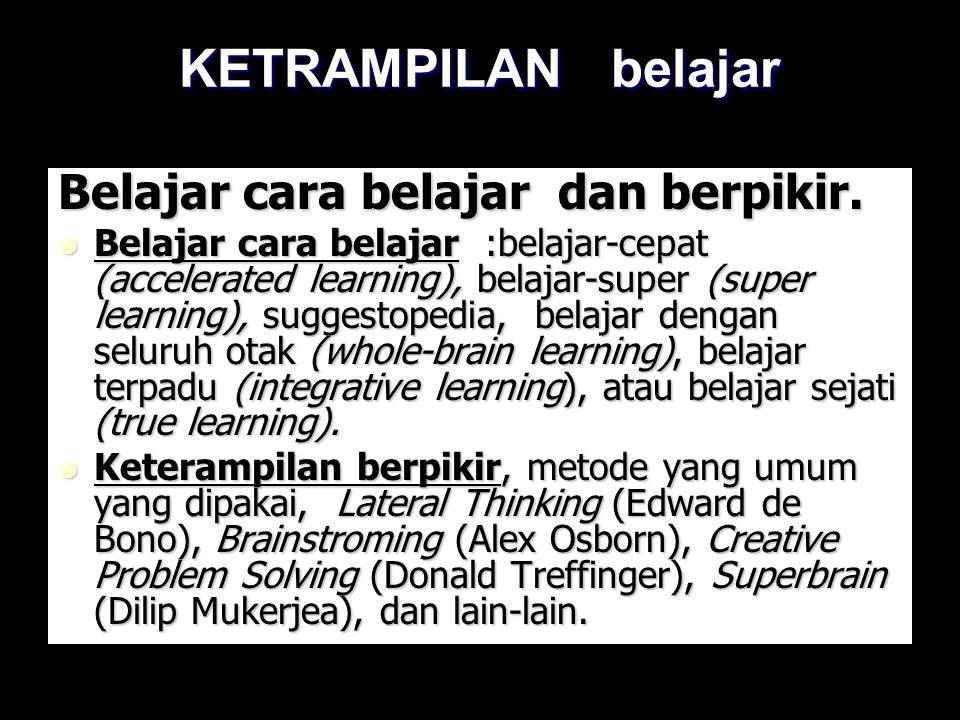 KETRAMPILAN belajar Belajar cara belajar dan berpikir. Belajar cara belajar :belajar-cepat (accelerated learning), belajar-super (super learning), sug