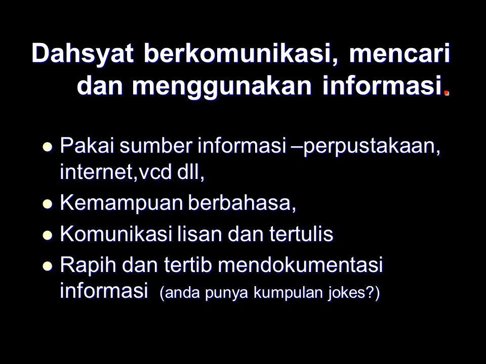 Dahsyat berkomunikasi, mencari dan menggunakan informasi. Pakai sumber informasi –perpustakaan, internet,vcd dll, Pakai sumber informasi –perpustakaan