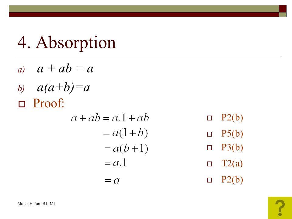 Moch. Rif'an.,ST.,MT 4. Absorption a) a + ab = a b) a(a+b)=a  P2(b)  P5(b)  P3(b)  T2(a)  P2(b)  Proof: