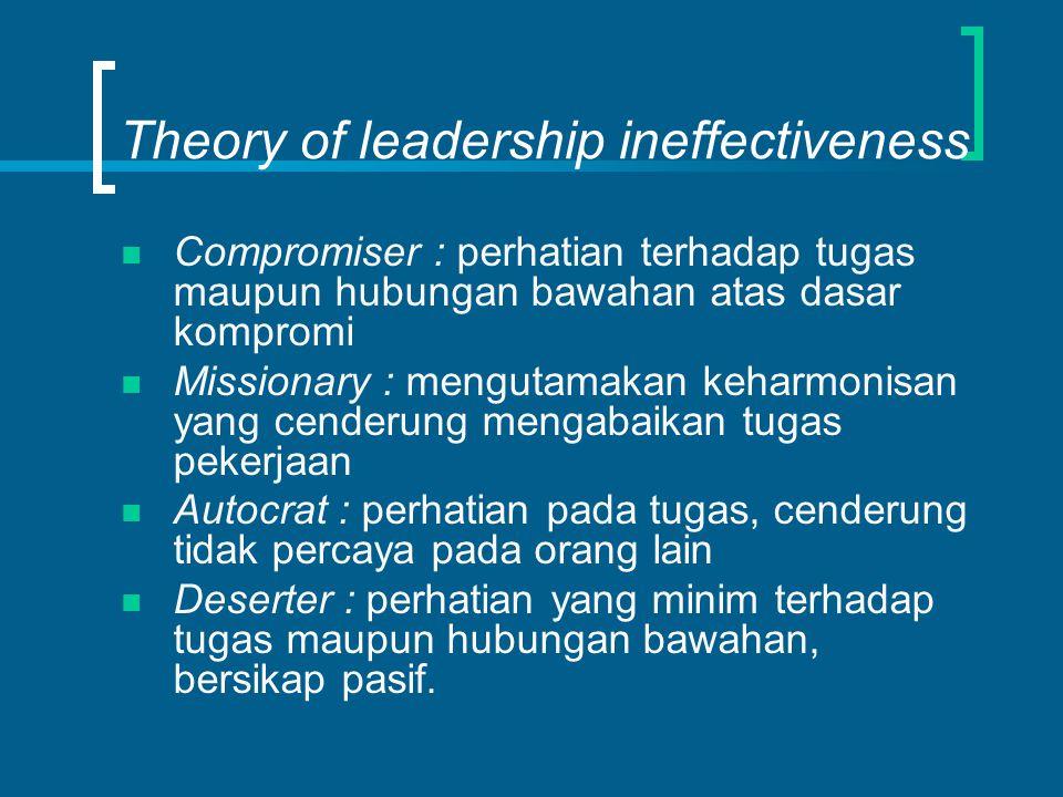Theory of leadership ineffectiveness Compromiser : perhatian terhadap tugas maupun hubungan bawahan atas dasar kompromi Missionary : mengutamakan keha