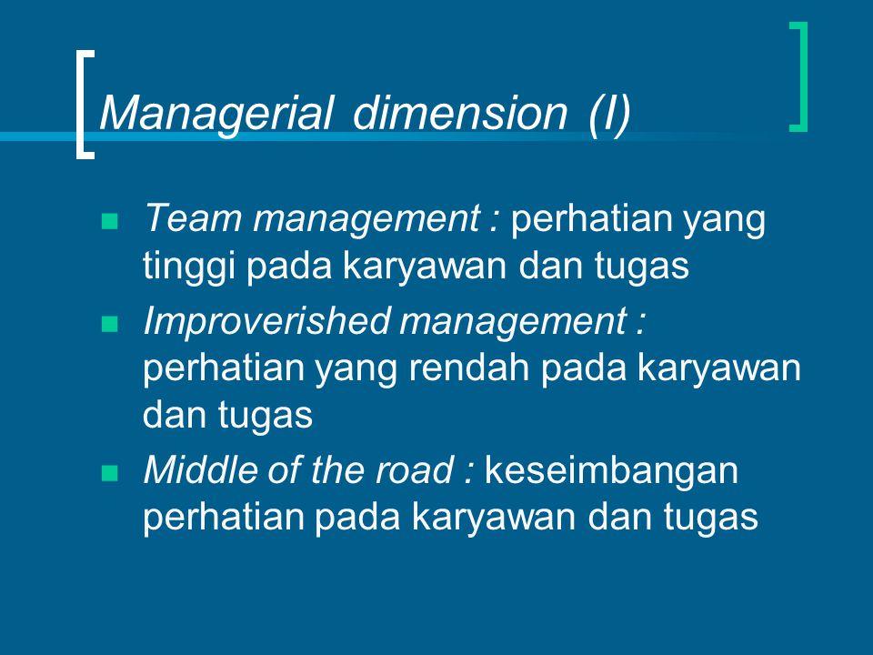 Managerial dimension (I) Team management : perhatian yang tinggi pada karyawan dan tugas Improverished management : perhatian yang rendah pada karyawan dan tugas Middle of the road : keseimbangan perhatian pada karyawan dan tugas