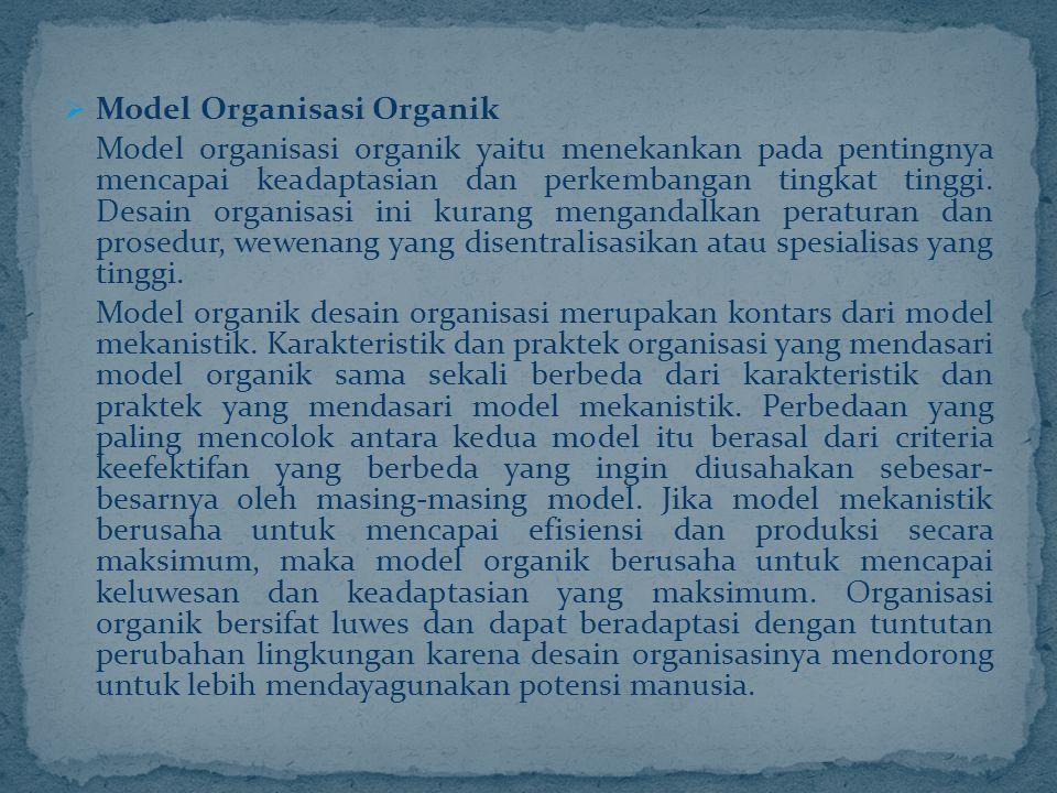  Model Organisasi Organik Model organisasi organik yaitu menekankan pada pentingnya mencapai keadaptasian dan perkembangan tingkat tinggi. Desain org