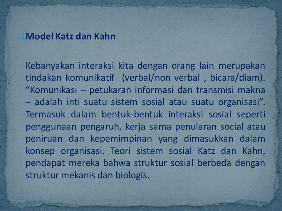 """ Model Katz dan Kahn Kebanyakan interaksi kita dengan orang lain merupakan tindakan komunikatif (verbal/non verbal, bicara/diam). """"Komunikasi – petuk"""