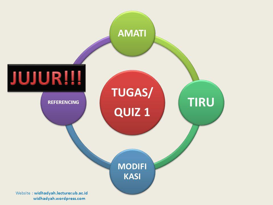 Website : widhadyah.lecturer.ub.ac.id widhadyah.wordpress.com TUGAS/ QUIZ 1 AMATI TIRU MODIFI KASI REFERENCING