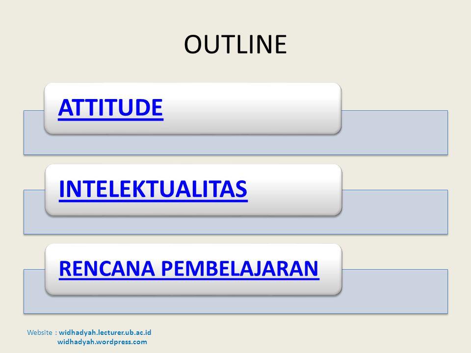 Website : widhadyah.lecturer.ub.ac.id widhadyah.wordpress.com OUTLINE ATTITUDEINTELEKTUALITAS RENCANA PEMBELAJARAN