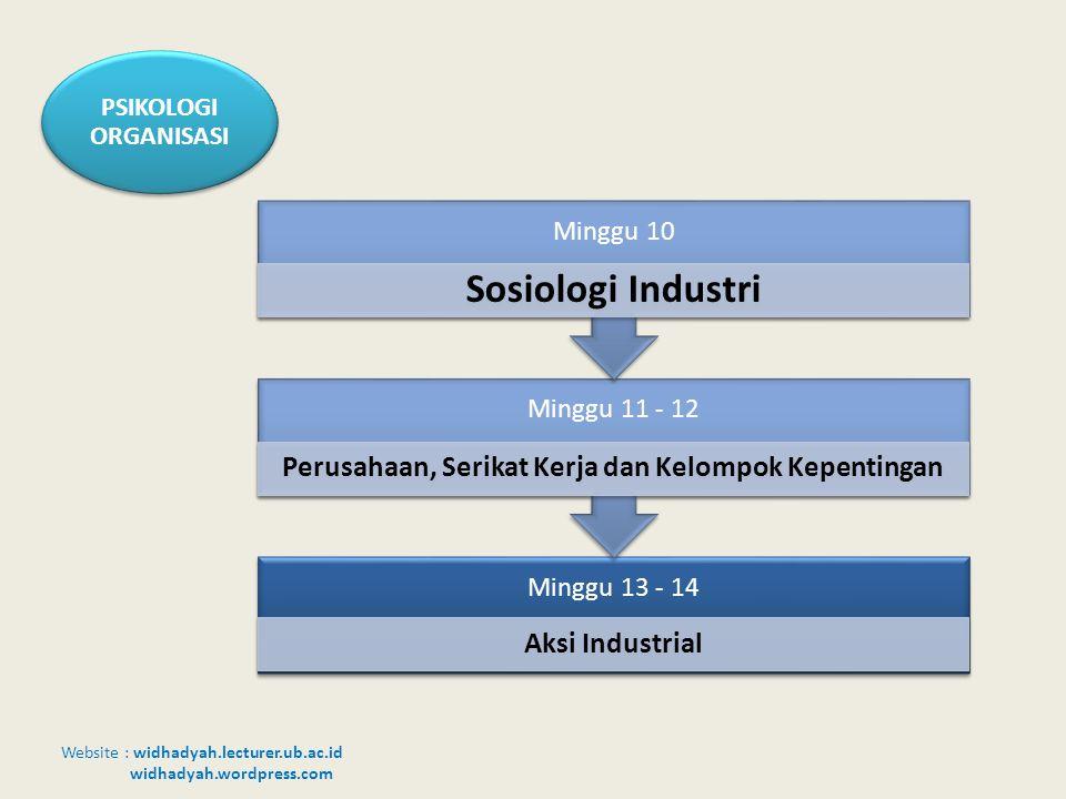 Website : widhadyah.lecturer.ub.ac.id widhadyah.wordpress.com PSIKOLOGI ORGANISASI Minggu 13 - 14 Aksi Industrial Minggu 11 - 12 Perusahaan, Serikat K