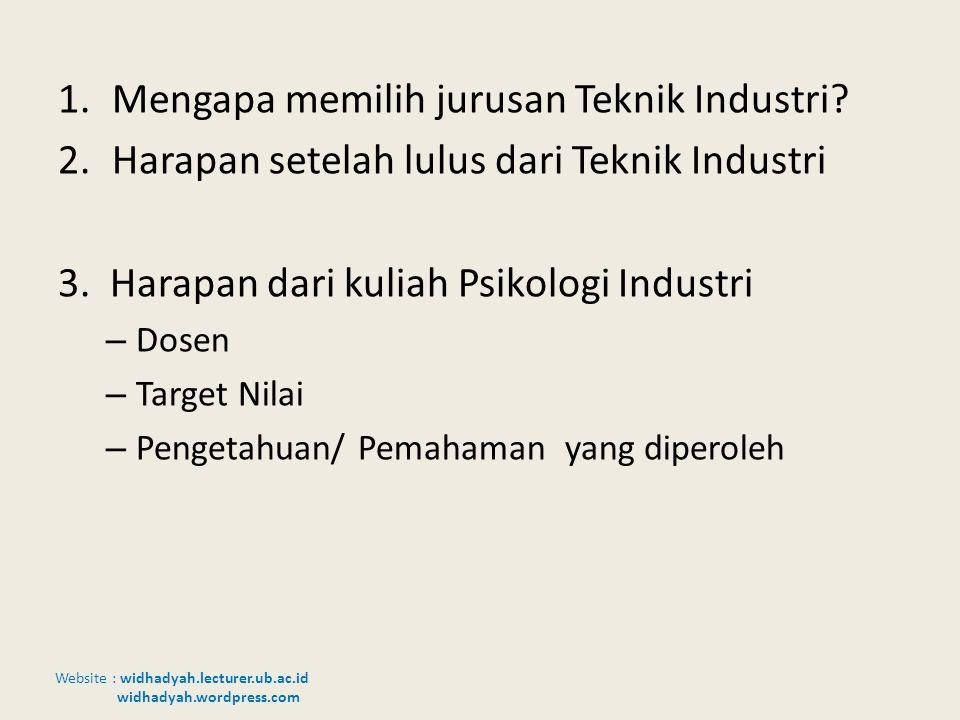 Website : widhadyah.lecturer.ub.ac.id widhadyah.wordpress.com 1.Mengapa memilih jurusan Teknik Industri? 2.Harapan setelah lulus dari Teknik Industri