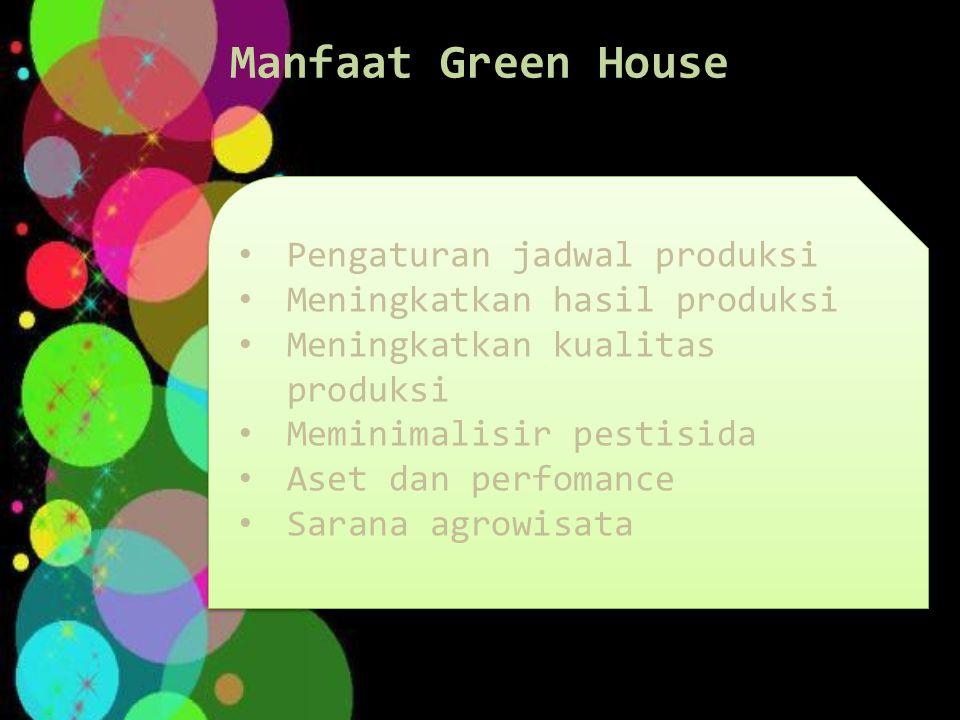 Manfaat Green House Pengaturan jadwal produksi Meningkatkan hasil produksi Meningkatkan kualitas produksi Meminimalisir pestisida Aset dan perfomance