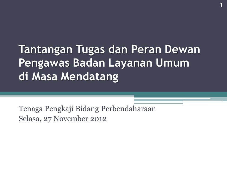 Agenda Konsepsi Badan Layanan Umum (BLU) dan Perlunya Pembentukan Dewan Pengawas (Dewas) Tugas dan Fungsi Dewas Perbandingan dengan Tugas Pokok dan Fungsi Dewan Komisaris BUMN Penajaman Fungsi Dewas kedepan 2
