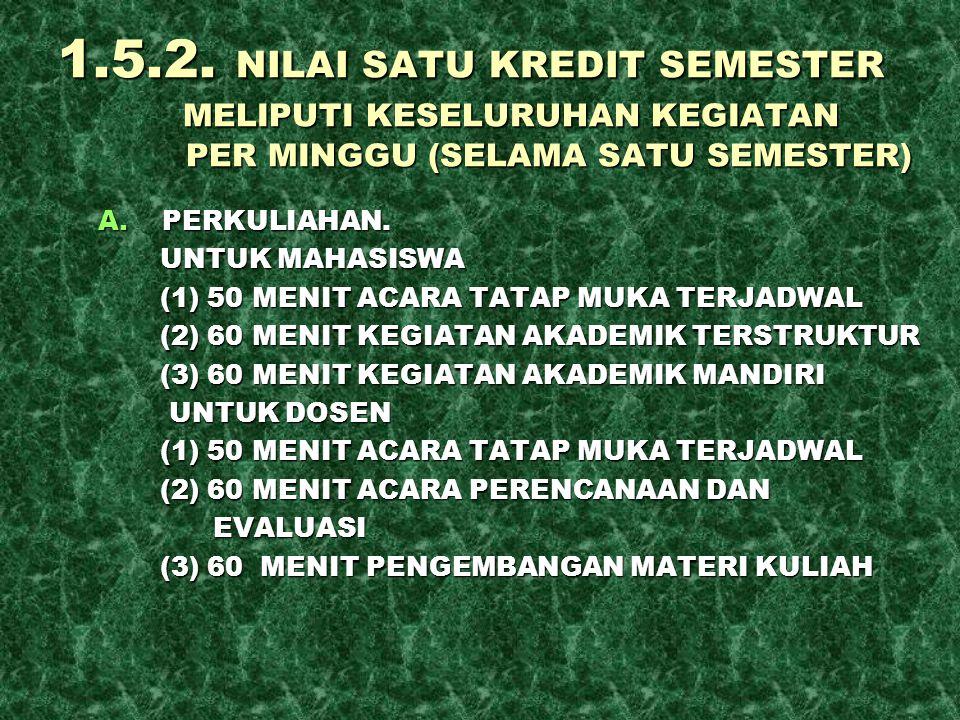 1.5.2. NILAI SATU KREDIT SEMESTER MELIPUTI KESELURUHAN KEGIATAN PER MINGGU (SELAMA SATU SEMESTER) A.PERKULIAHAN. UNTUK MAHASISWA UNTUK MAHASISWA (1) 5