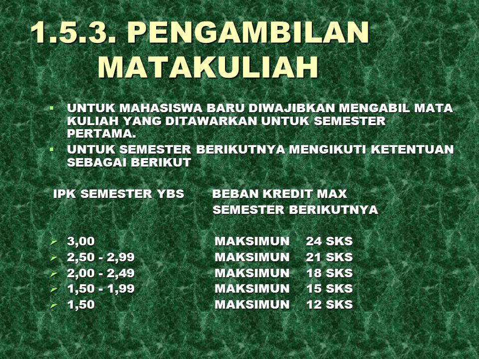 1.5.3. PENGAMBILAN MATAKULIAH  UNTUK MAHASISWA BARU DIWAJIBKAN MENGABIL MATA KULIAH YANG DITAWARKAN UNTUK SEMESTER PERTAMA.  UNTUK SEMESTER BERIKUTN