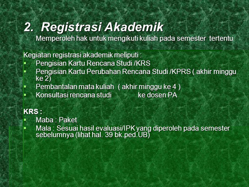 2. Registrasi Akademik Memperoleh hak untuk mengikuti kuliah pada semester tertentu Kegiatan registrasi akademik meliputi :  Pengisian Kartu Rencana