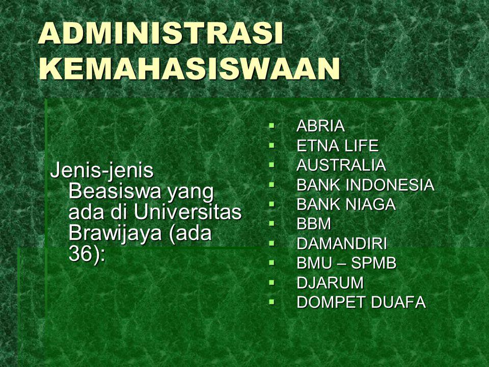 ADMINISTRASI KEMAHASISWAAN Jenis-jenis Beasiswa yang ada di Universitas Brawijaya (ada 36):  ABRIA  ETNA LIFE  AUSTRALIA  BANK INDONESIA  BANK NI