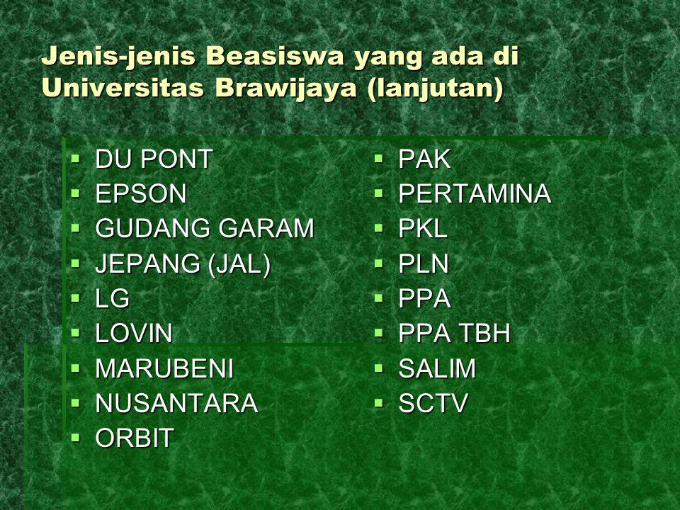 Jenis-jenis Beasiswa yang ada di Universitas Brawijaya (lanjutan)  DU PONT  EPSON  GUDANG GARAM  JEPANG (JAL)  LG  LOVIN  MARUBENI  NUSANTARA