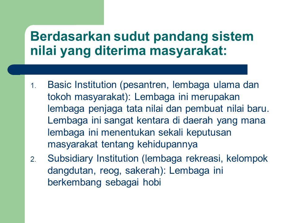 Berdasarkan sudut pandang sistem nilai yang diterima masyarakat: 1. Basic Institution (pesantren, lembaga ulama dan tokoh masyarakat): Lembaga ini mer