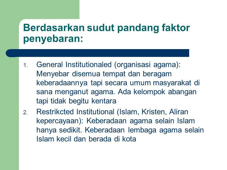 Berdasarkan sudut pandang faktor penyebaran: 1. General Institutionaled (organisasi agama): Menyebar disemua tempat dan beragam keberadaannya tapi sec
