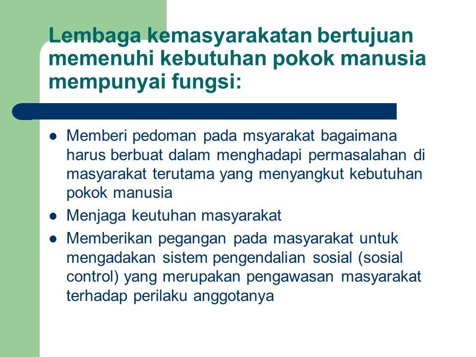 Lembaga kemasyarakatan bertujuan memenuhi kebutuhan pokok manusia mempunyai fungsi: Memberi pedoman pada msyarakat bagaimana harus berbuat dalam mengh