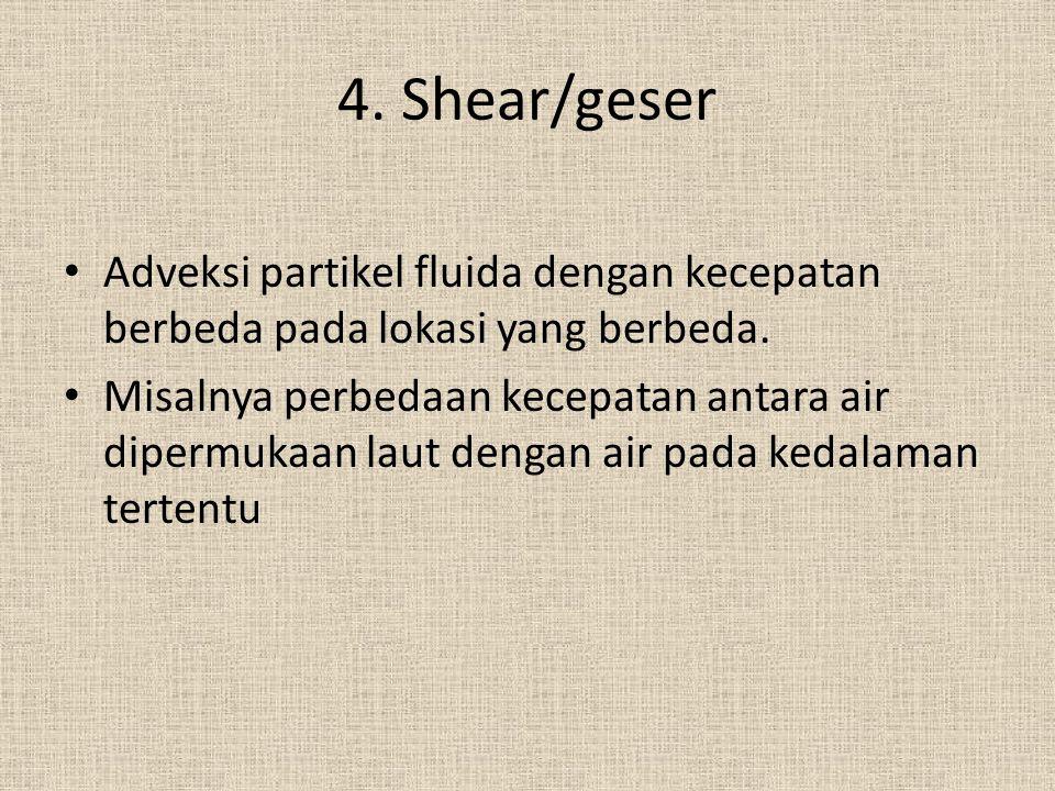4. Shear/geser Adveksi partikel fluida dengan kecepatan berbeda pada lokasi yang berbeda. Misalnya perbedaan kecepatan antara air dipermukaan laut den
