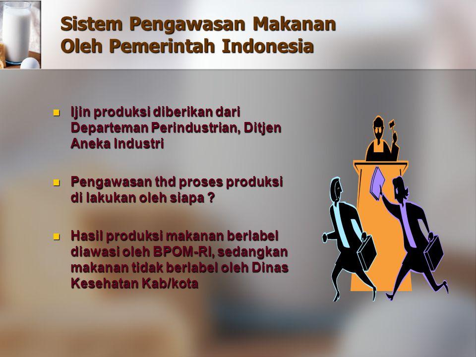 Sistem Pengawasan Makanan Oleh Pemerintah Indonesia Ijin produksi diberikan dari Departeman Perindustrian, Ditjen Aneka Industri Ijin produksi diberik